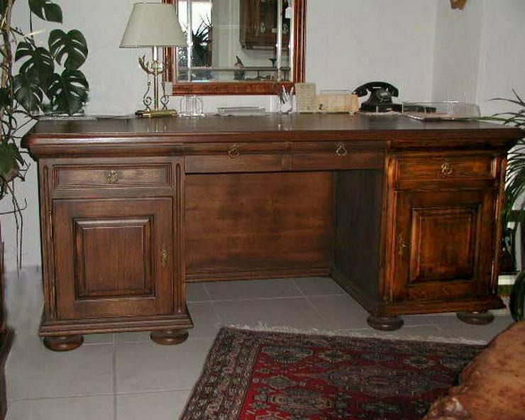 Schreibtisch mit Bücherregal, VOLLMASSIV Eiche