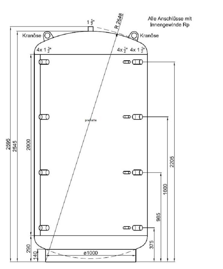 1A PRE Pufferspeicher 3000 L. Für Heizung Holzvergaser BHKW Kamin - Durchlauferhitzer & Wasserspeicher - Bild 1