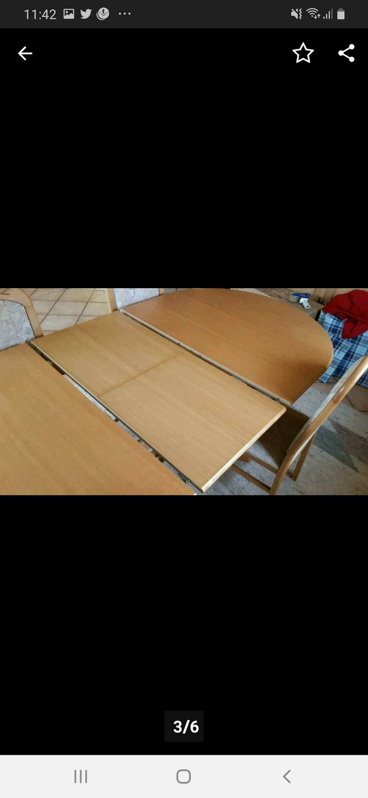 Bild 3: Esstisch ausziehbar mit 4 Stühlen Eiche Natur