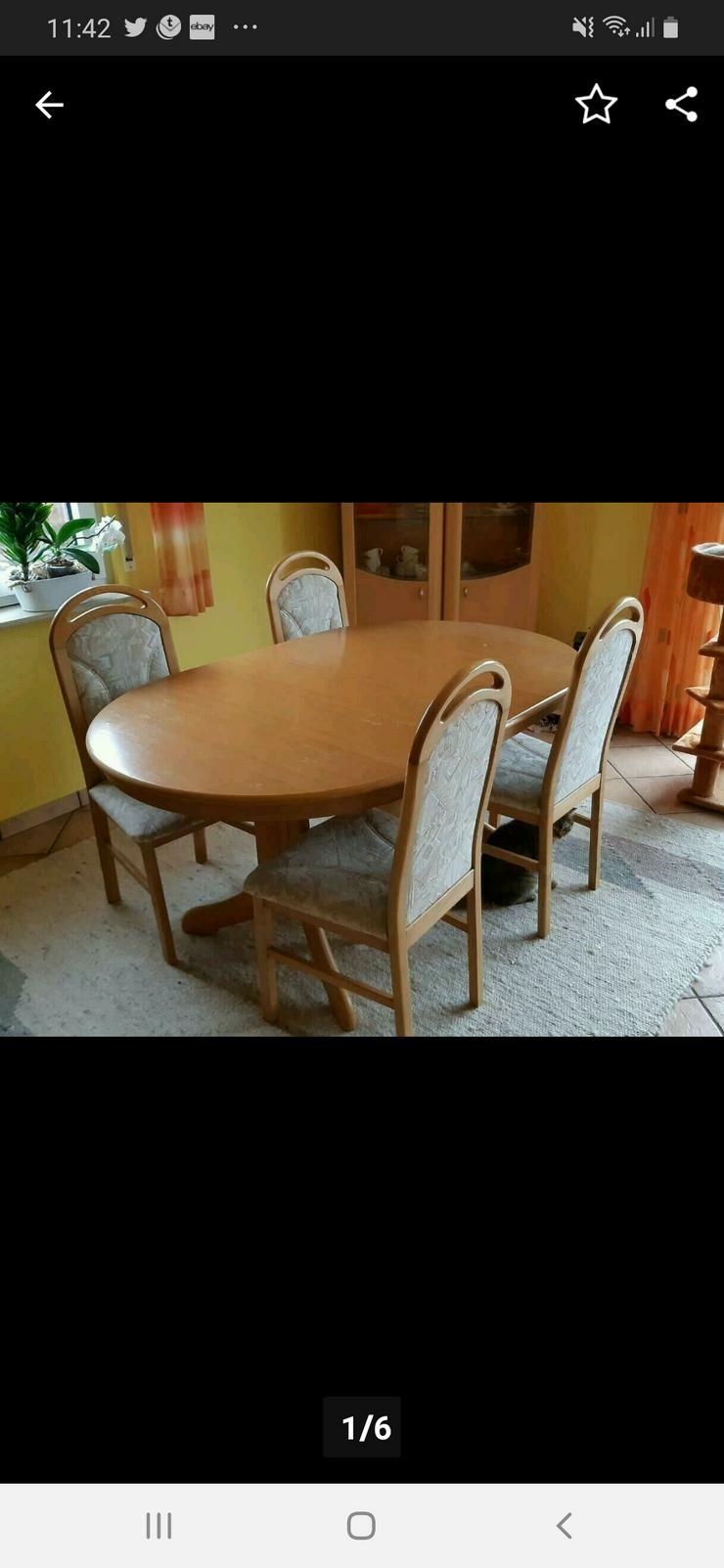 Esstisch ausziehbar mit 4 Stühlen Eiche Natur  - Kompletteinrichtungen & Essgruppen - Bild 1