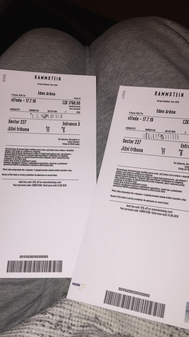 Bild 3: 2 Tickets Rammstein Prag 17.7.2019 im Tausch gegen Dresden, München oder Berlin