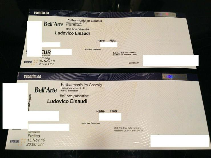2 Karten Tickets für Ludovico Einaudi, München, 15.11.2019 - Rock & Pop - Bild 1