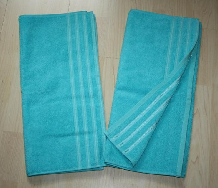 Handtuch Frottee Handtücher Frottier Streifen Bordüre blau 50x90