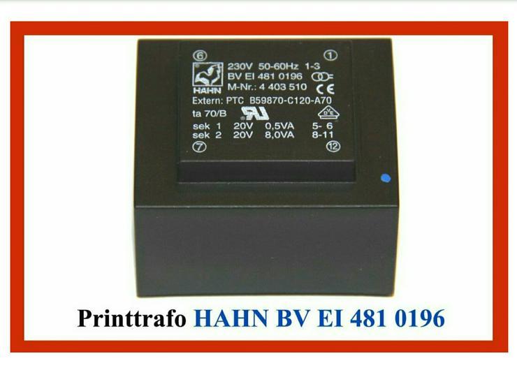 Printtrafo Hahn BV EI 4810196 für Miele Elektronik EL 150 A, B, C