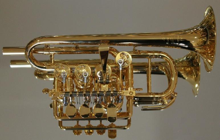 Meister J. Scherzer Piccolotrompete, Mod. 8111 AU, 24 Kt. Vergoldet, Neuware / OVP