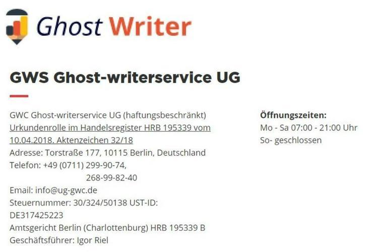 Ghostwriting. Kostenlose Probeseite bis zum 25 November