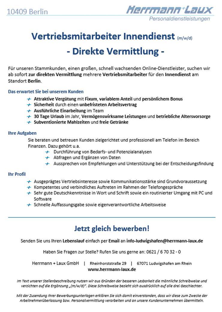 Vertriebsmitarbeiter Innendienst (m/w/d) - Direkte Vermittlung
