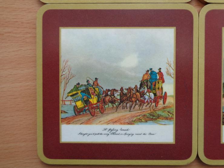 """Bild 5: 6er-Satz Vintage-Untersetzer, Melamin + Kork, SCHUBERT - Tamat-Serie """"Alte Postkutschen"""""""