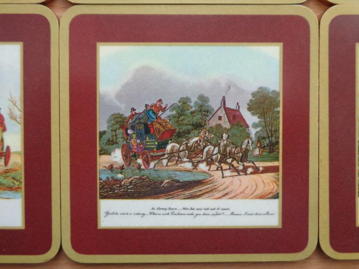 """Bild 6: 6er-Satz Vintage-Untersetzer, Melamin + Kork, SCHUBERT - Tamat-Serie """"Alte Postkutschen"""""""