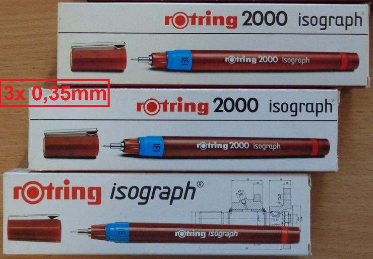Bild 2: 3x Rotring Isograph Tuschefüller 0,35mm (nach DIN ISO 9175) =NEU=