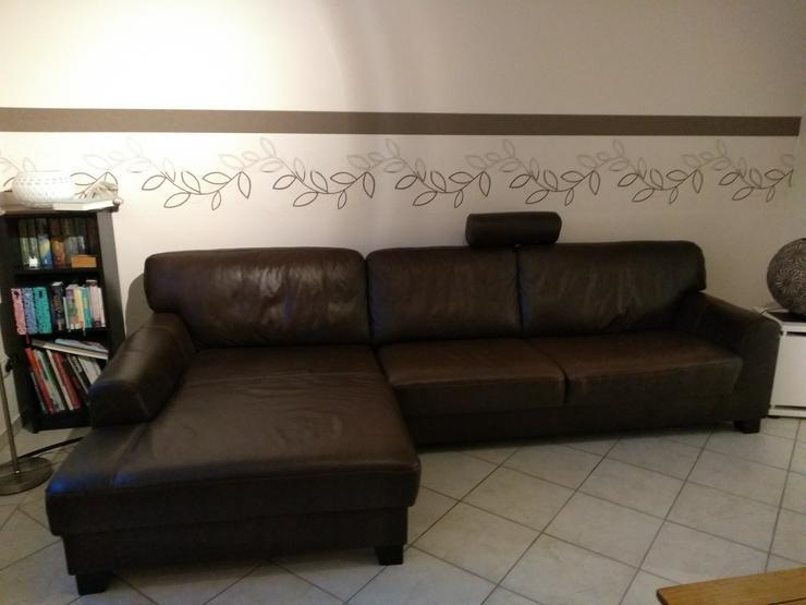Echtleder Couch mit Recamiere