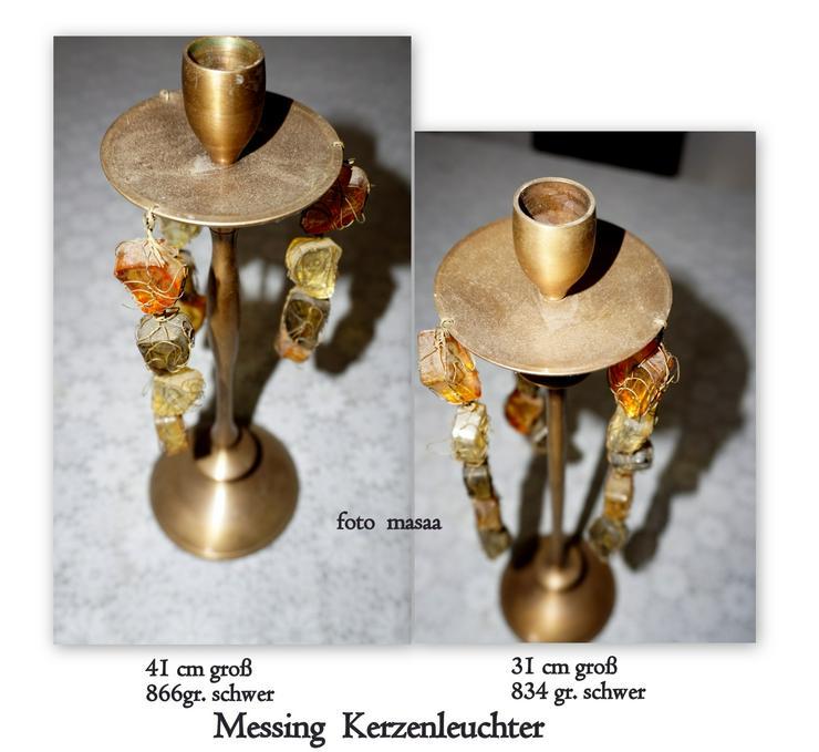 zwei schwere Messing Kerzen Leuchter, siehe FOTO