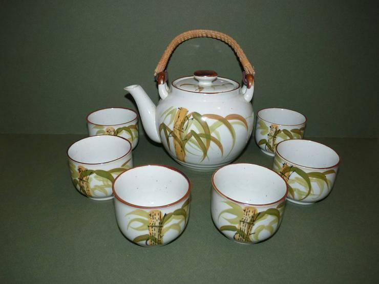 7 teiliges Teeservice grau mit grünen Blättern, handgemalt