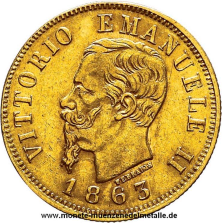 Italien 10 Lire Vitt.Emmanuele II 1863 Gold Münze