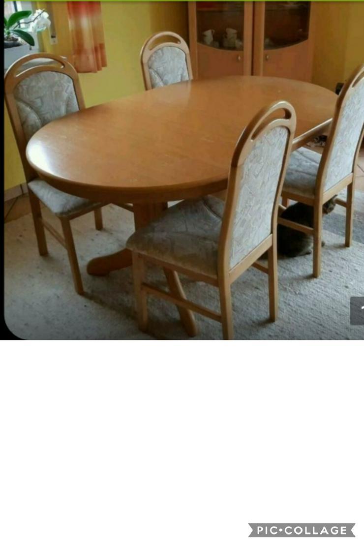 Esstisch ausziehb. auf 2m + 4 Stühle Eiche hell - Kompletteinrichtungen & Essgruppen - Bild 1