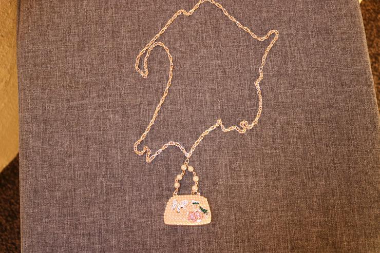 Modeschmuckkette, Strass, Perlen