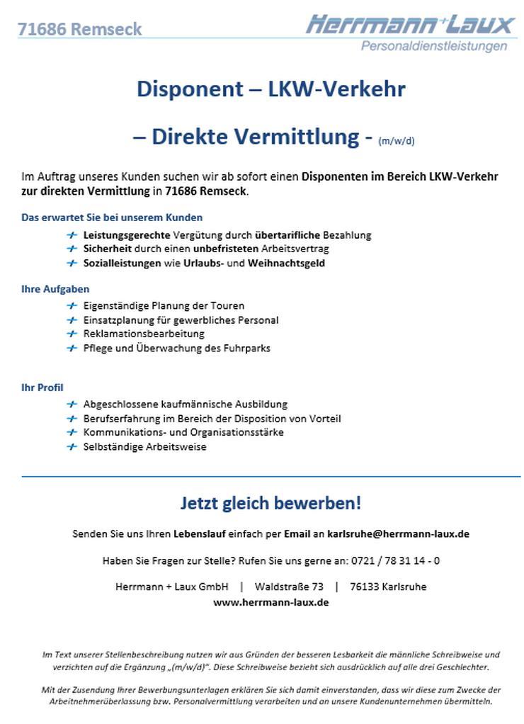 Disponent – LKW-Verkehr  – Direkte Vermittlung - (m/w/d)