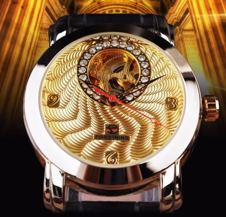 FORSINING - DIAMOND - goldplated - Tourbilliondesign - TOP - NEU - OVP - Herren Armbanduhren - Bild 1