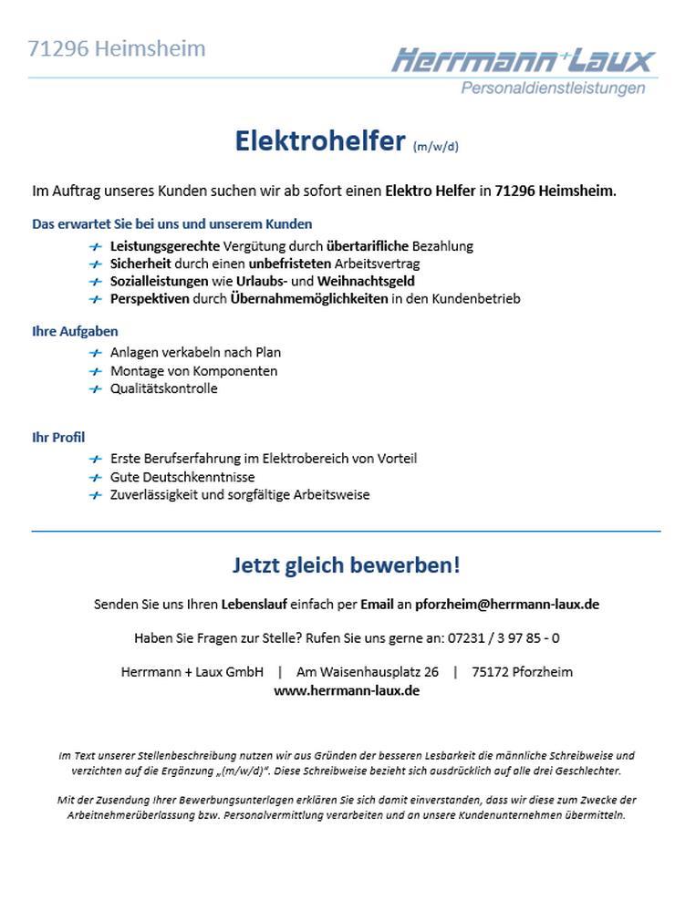 Elektrohelfer (m/w/d) - Produktion & Fertigung - Bild 1