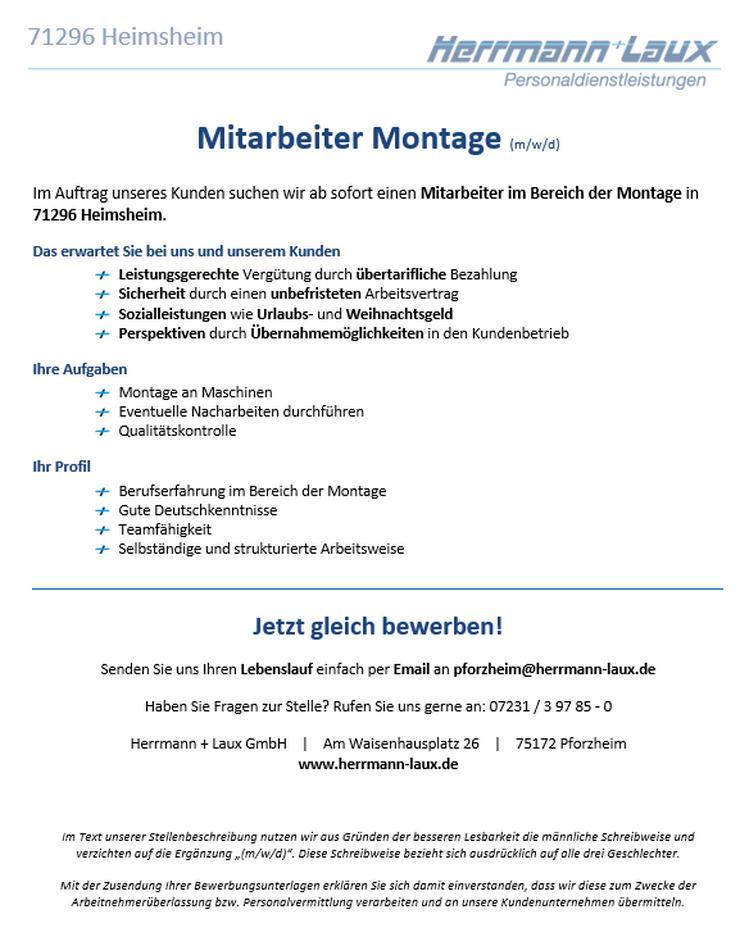 Mitarbeiter Montage (m/w/d)