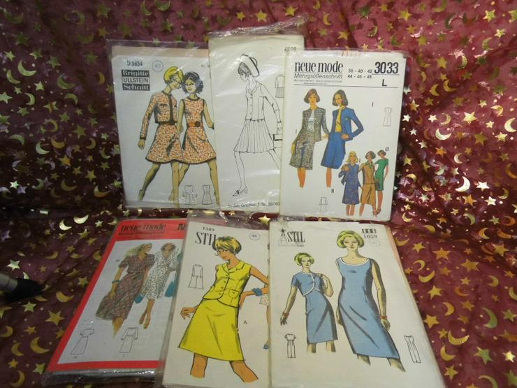 6tlg. Konvolut Schnittmuster Bögen 70er Jahre / Brigitte / Gr. 38-48 / Vintage