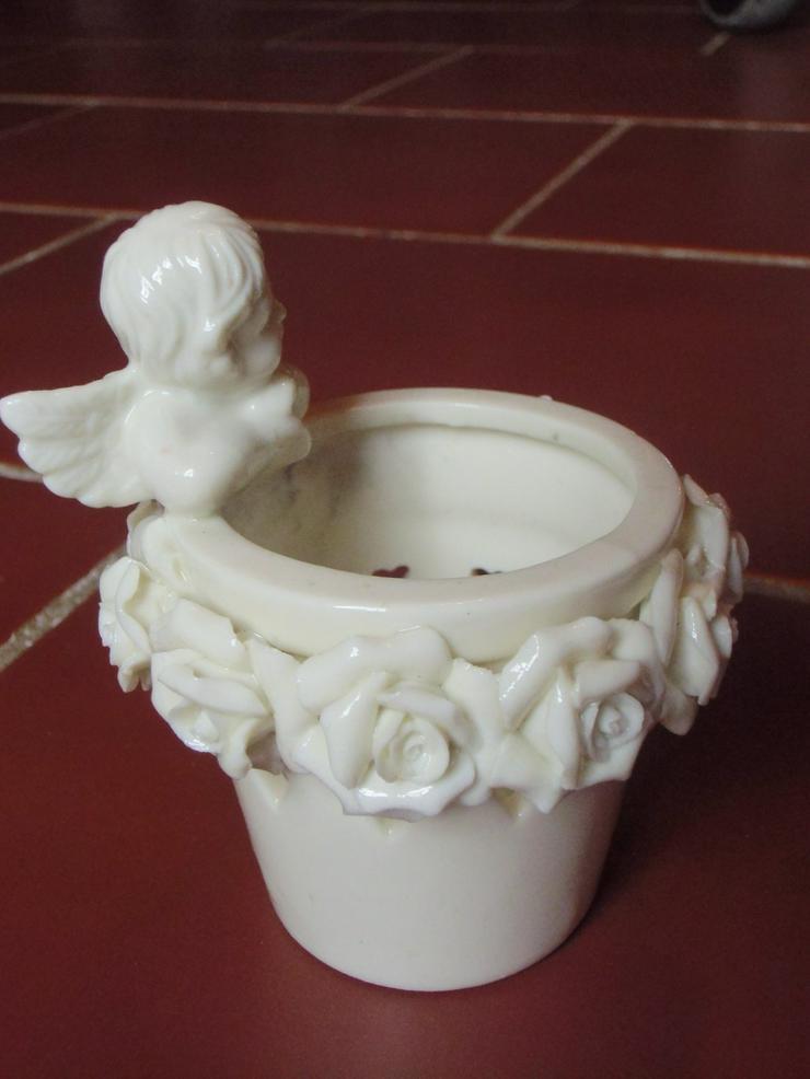 Teelicht mit Engel und Rosen (auch zu verschicken)