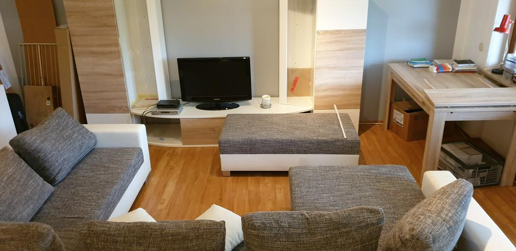 Ecksofa (Couch) + Wohnwand + Sideboard + Tisch + Schwingstühle - Kompletteinrichtungen - Bild 1