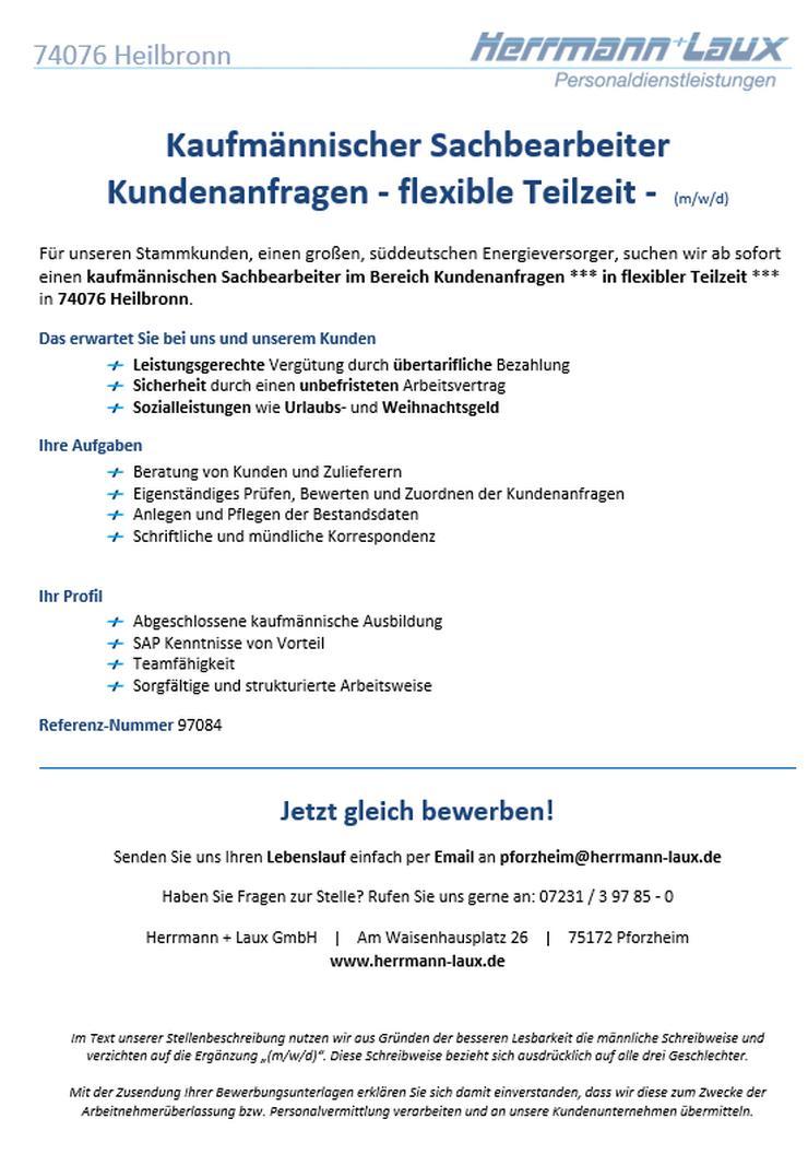 Kaufmännischer Sachbearbeiter Kundenanfragen - flexible Teilzeit -  (m/w/d)