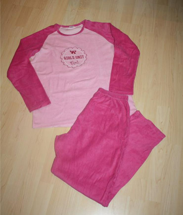 Mädchen Schlafanzug Kinder Langarm Pyjama lang Frottee pink 164