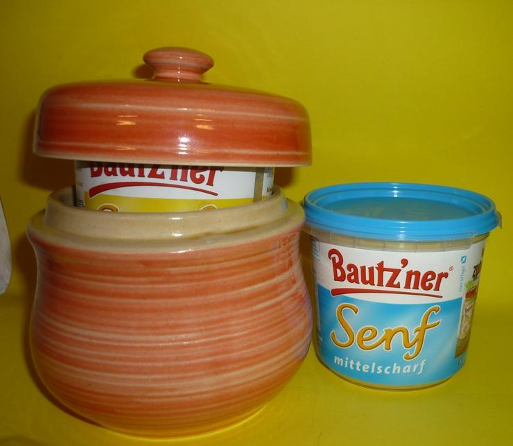Senftopf roter Pinselstrich incl. Bautzner Becher