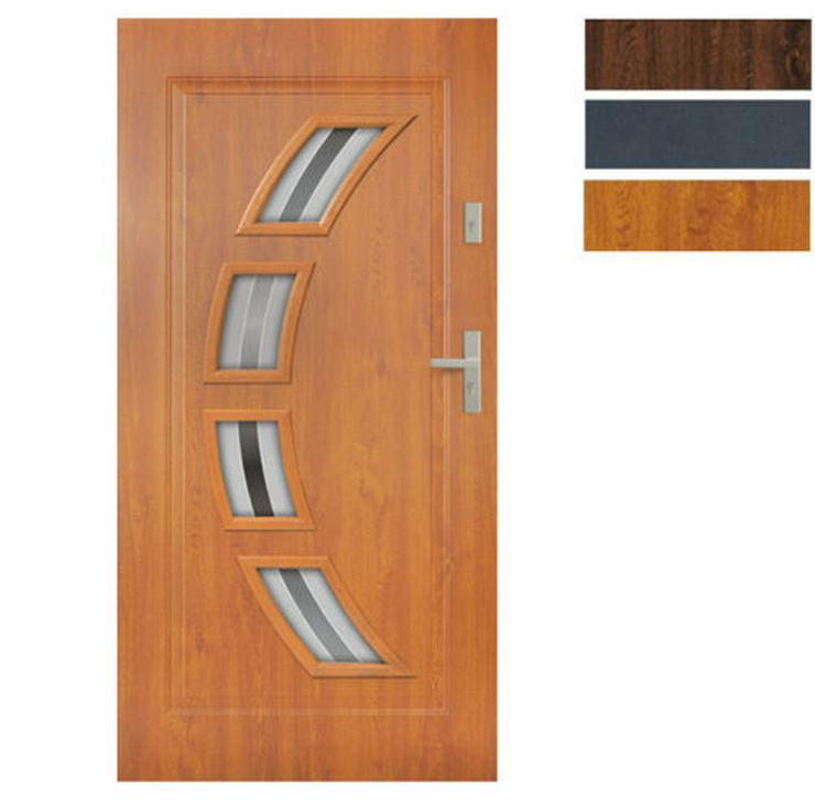 Tür Stahltür Eingangstür Haustür 65mm warm 90 100 Goldeiche Nuss Anthrazit Forte