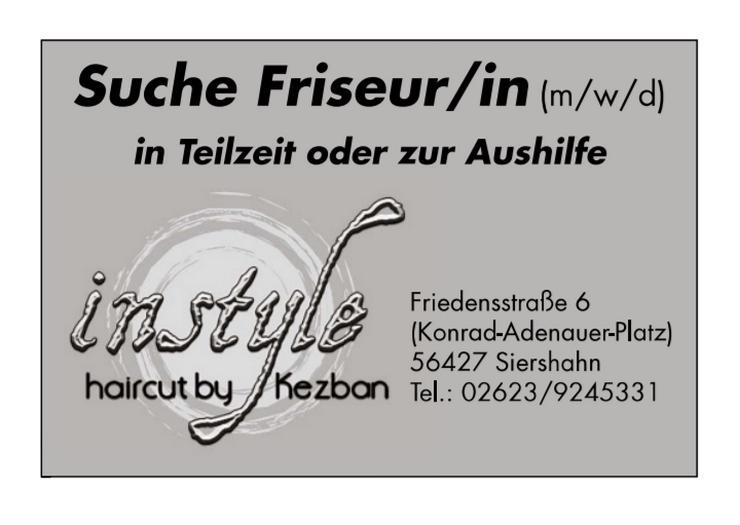 Friseur/in in Teilzeit oder Aushilfe gesucht !!