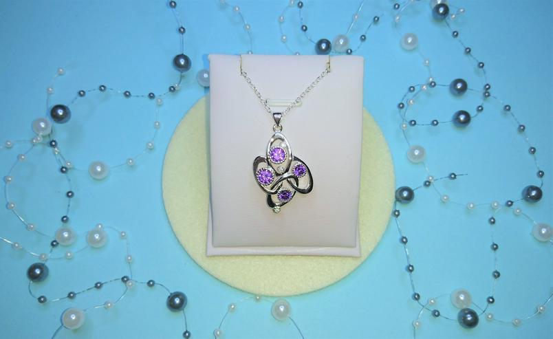 Ausgefallene Echtsilber Kette mit lila Zirkonia im Facettenschliff  - Halsketten & Colliers - Bild 1