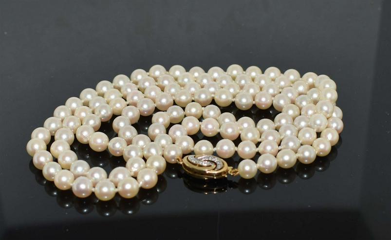 Echte Akoya Perlen mit Brillantverschluß 585er
