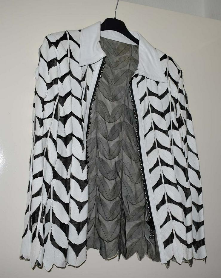 Bluse/Jacke schwarz weiß mit Lederblätter