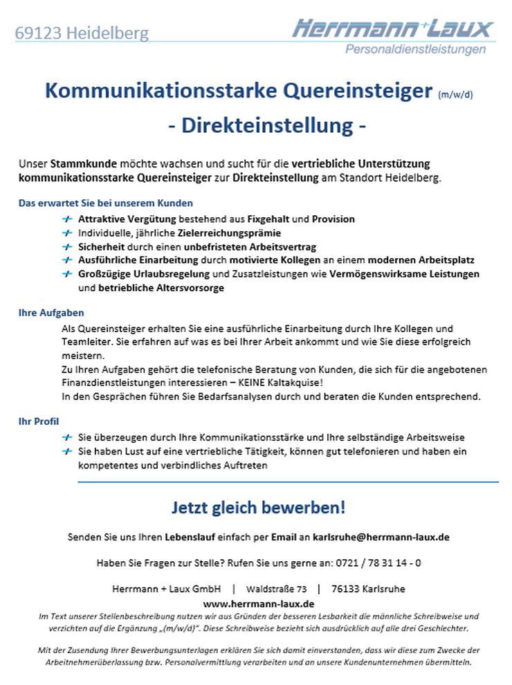 Kommunikationsstarke Quereinsteiger (m/w/d) - Direkteinstellung - in Heidelberg