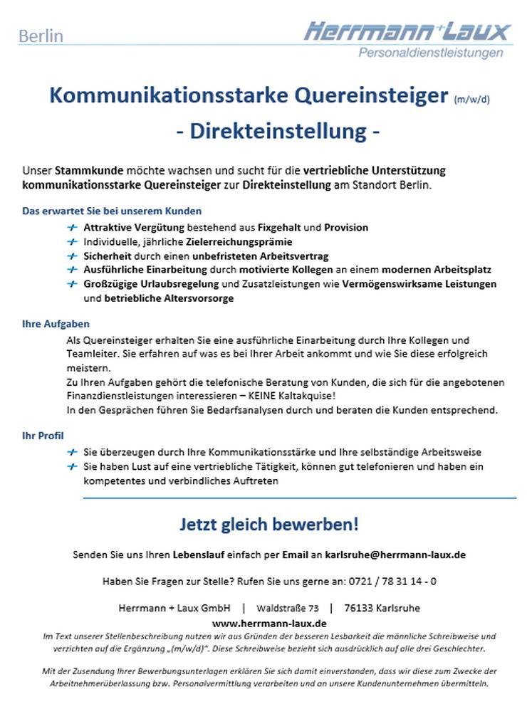 Kommunikationsstarke Quereinsteiger (m/w/d) - Direkteinstellung - in Berlin