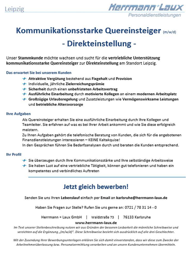 Kommunikationsstarke Quereinsteiger (m/w/d) - Direkteinstellung - in Leipzig