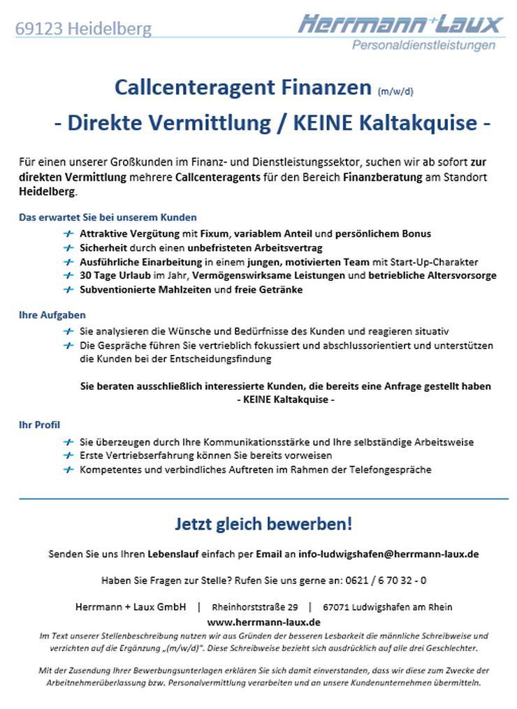 Callcenteragent Finanzen (m/w/d) - Direkte Vermittlung / KEINE Kaltakquise - in Heidelberg