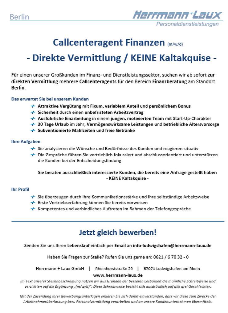 Callcenteragent Finanzen (m/w/d) - Direkte Vermittlung / KEINE Kaltakquise - in Berlin