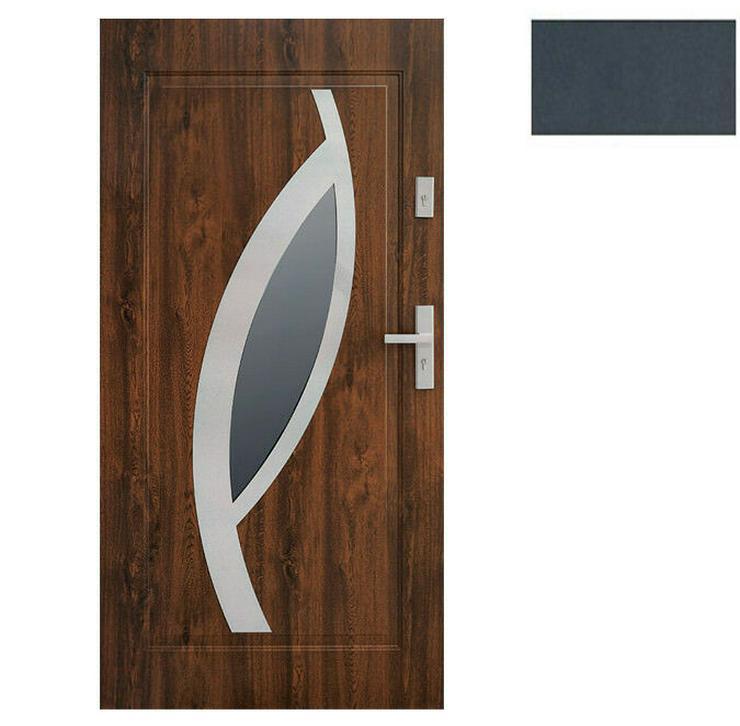 Bild 4: Tür Stahltür Eingangstür Haustür 65mm warm 90 100 Goldeiche Nuss Anthrazit Miram