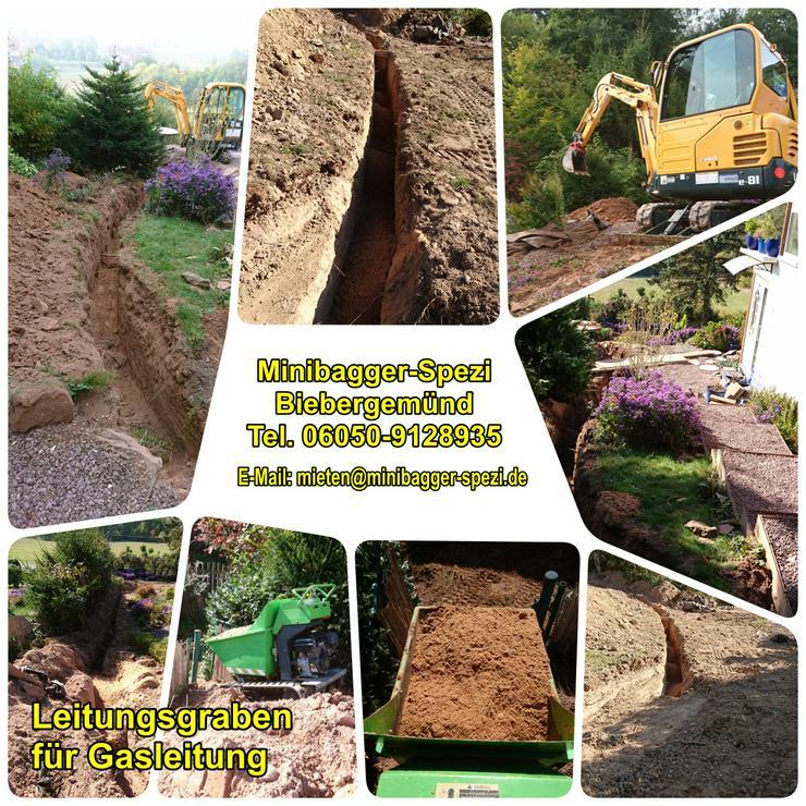 Bild 2: NEU !! Baumstumpf entfernen ohne Dreck, Staub und Lärm  (1 cm = 1 Euro) ~~ MINIBAGGER-SPEZI ~~ Biebergemünd