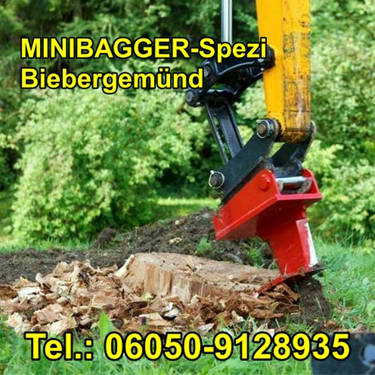 Bild 13: Minibagger mit und ohne Fahrer  /  Baumstumpf entfernen