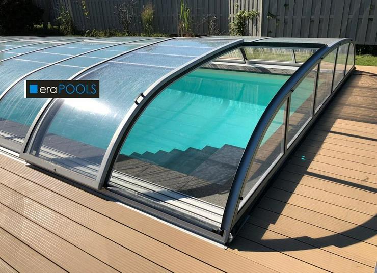 Pool Überdachung Elegant EVO 6 Klarglas extra Schienen