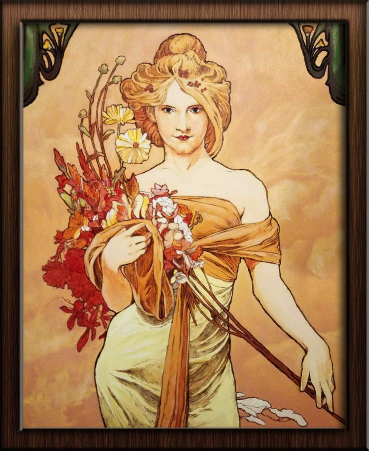 """Bild kopieren von """"Bouquet"""" Alfons Mucha 40x50cm - Gemälde & Zeichnungen - Bild 1"""