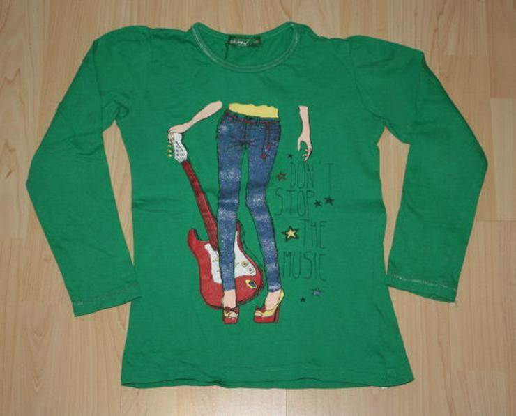 Mädchen Pullover Kinder Pulli Langarm Sweatshirt Glitzer grün 122
