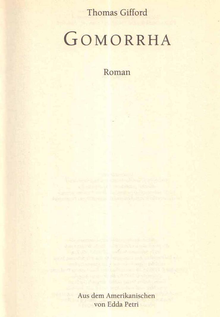Bild 3: Buch von Thomas Gifford - Gomorrha - ein Roman - 1997
