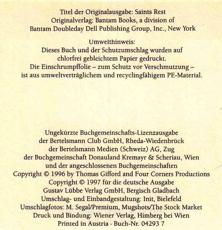 Buch von Thomas Gifford - Gomorrha - ein Roman - 1997 - Romane, Biografien, Sagen usw. - Bild 4