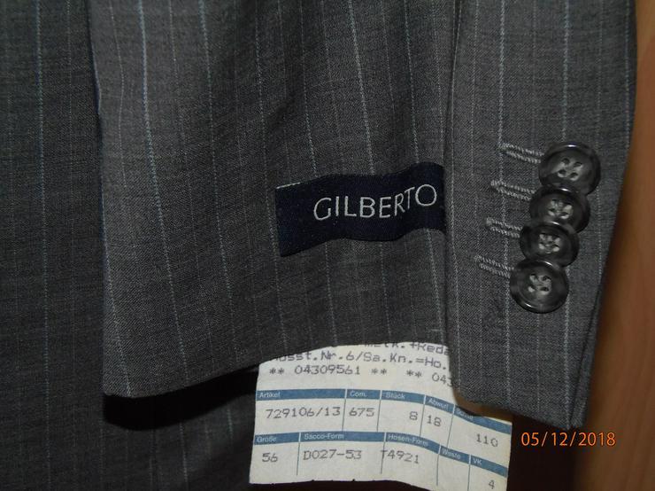 Bild 2: Marke Gilberto, Gr. 56, Sakko + Hose, Neu/ Ungetragen, grau, gestreift
