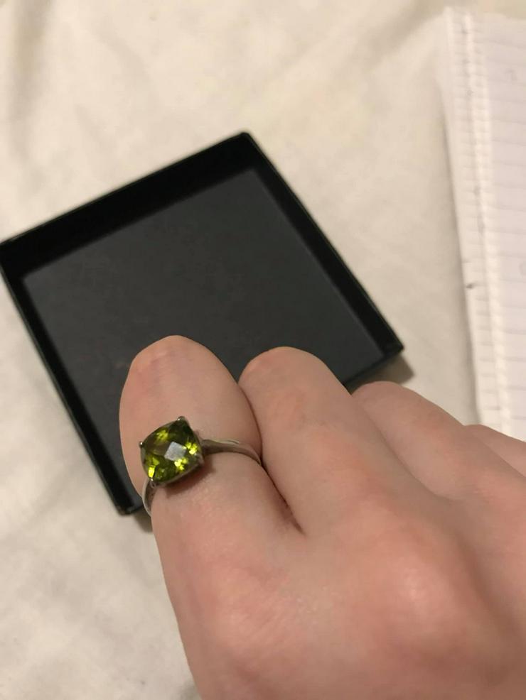Bild 4: Silber Ring mit grüner Zirkone neuwertig